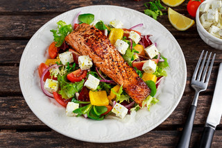 Fried Salmon with Salad