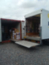 Van loading into shipping container