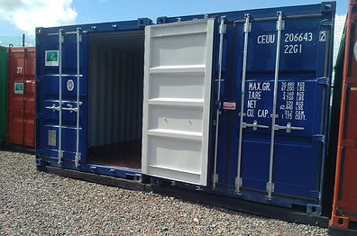 shipping container being opened