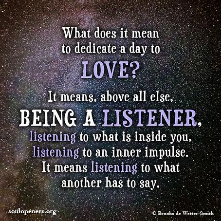 Love is listening.