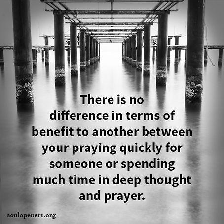 Time spent on prayer.