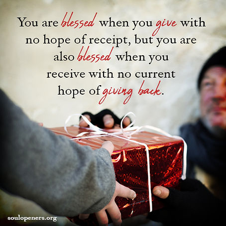 Blessings of giving and receiving.