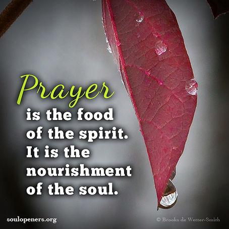 Prayer nourishes the soul.