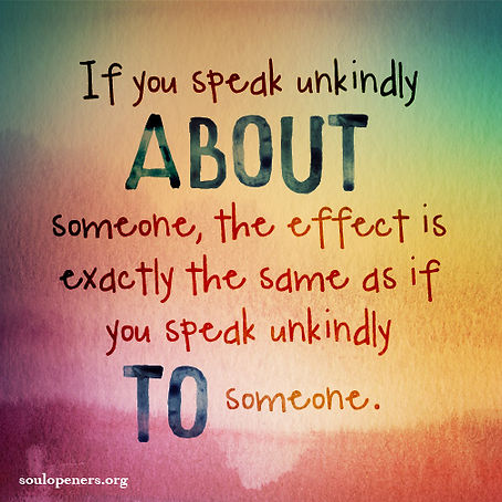 Speaking about someone.