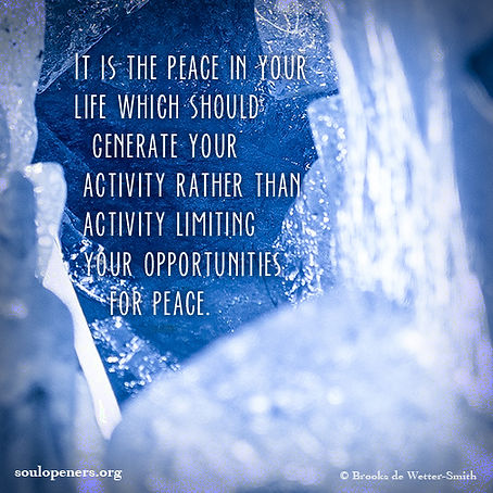 Peace should generate activity.