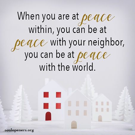 Be at peace within.