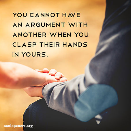 No argument when clasping hands.