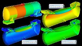 Конечноэлементная модель цистерны, напряжения и деформации