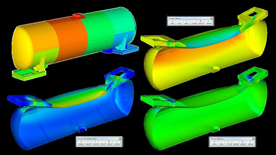 Конечноэлементная модель бака цистерны и распределение напряжений
