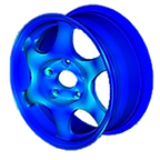 Моделирование испытаний литого колесного диска автомобиля: напряжения и деформации. Trial simulation for cast-aluminium wheel: stress and strain. Von Mises stress, deformation, numerical simulation, model, static analysis, статический анализ, нелинейная статика, plasticty, пластичность, физическая нелинейность