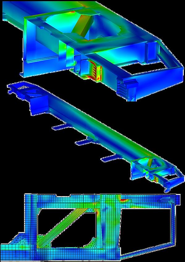 Распределение эквивалентных напряжений в платформе-контейнеровозе при I режиме при ударе с нецентральным взаимодействиемсоседних вагонов с учетом боковой нагрузки