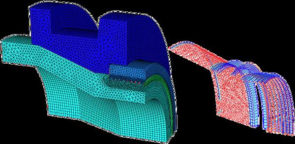 Модель крэш-элемента электропоезда и контактны давления на витках резьбы от продольной нагрузки