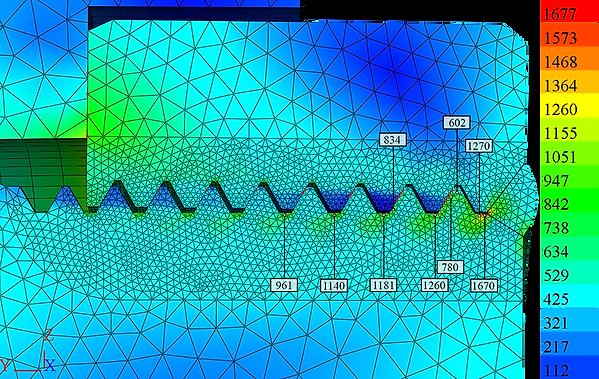 Распределение эквивалентных напряжений от растягивающей нагрузки