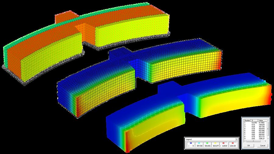 Конечноэлементная модель тормозной колодки и изолинии температур при торможении