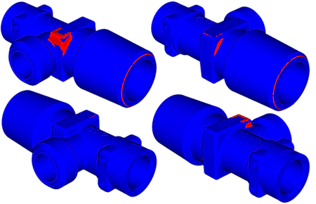 Области пластической деформации корпуса баллонного вентиля при монтаже