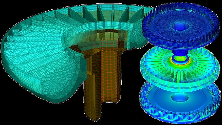 Конечноэлементная модель колеса гидропередачи