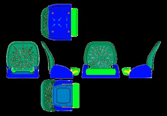Шесть проекций сиденья для моторных лодок