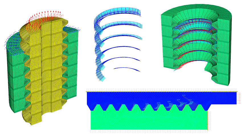 Конечноэлементная модель резьбового соединения