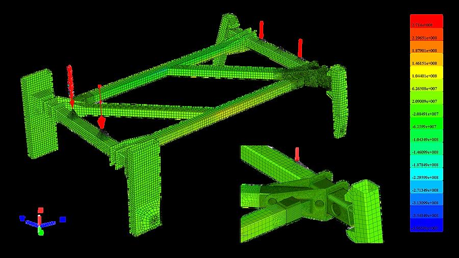 Конечно-элементная модель высококлиренсного шасси самоходного опрыскивателя