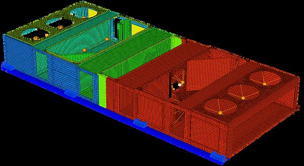 Конечноэлементная модель несущег каркаса кондиционера трамвая с агрегатами