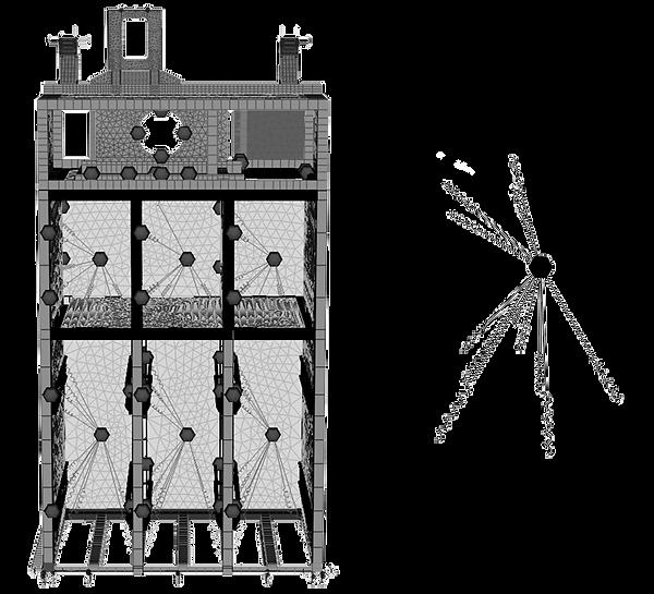 Силовой каркас холодильной камеры и сосредоточенная масса на упругих опорах