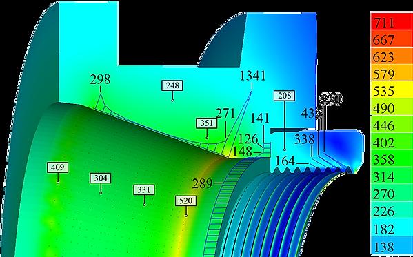 Остаточные эквивалентные напряжения и контактные давления) в фильере и гайке
