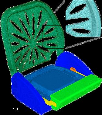 Конечноэлеметна модель пластикового сиденья для моторной лодки