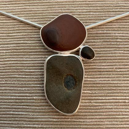 Harmony :: 3 Beach Stone Cluster Pendant, Medium