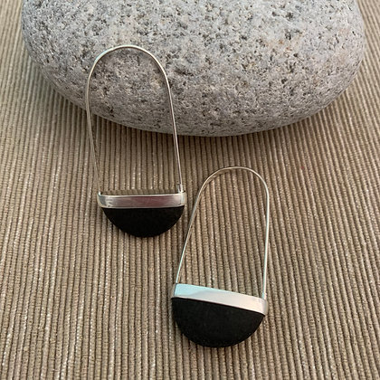 Stone Basket Earrings :: 2.0 XL Black #1