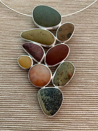 Frolic :: 9 Beach Stone Cluster Pendant