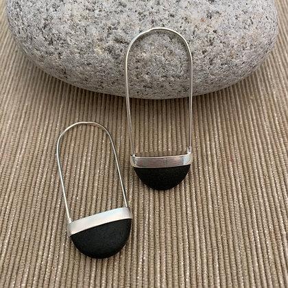 Stone Basket Earrings :: 2.0 XL Black #3