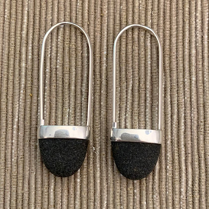 Stone Basket Earrings :: 2.0 M Black #12
