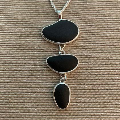Three Tier Motion Basalt #2 ::  3 Beach Stone Link Connected Pendant, Medium