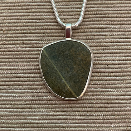 Banded Green :: Medium Stone Pendant