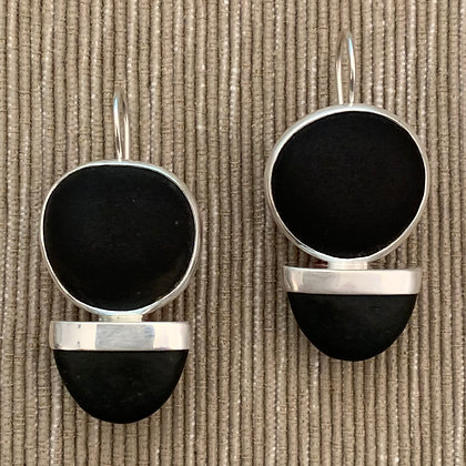 Sliced Both Ways Black :: Double Beach Stone Drop Earrings