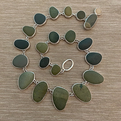 Shades of Green :: Beach Stone Neck Piece