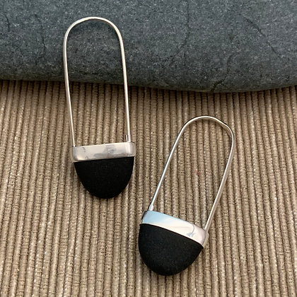 Stone Basket Earrings :: 2.0 L Black #7