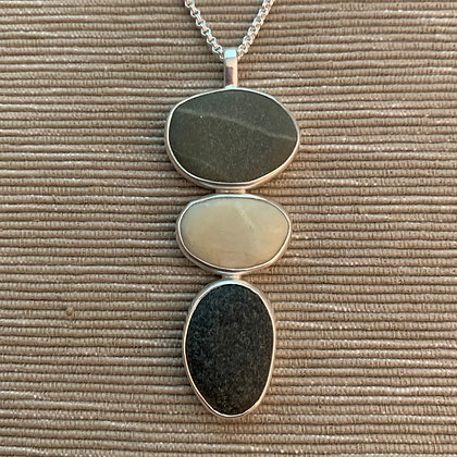 Unity :: 3 Beach Stone Cluster Pendant, Medium