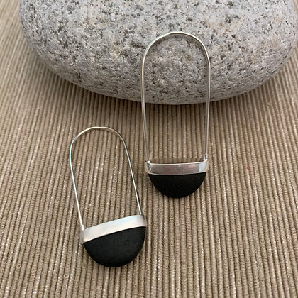 Stone Basket Earrings :: 2.0 S Dark Gray to Black #17
