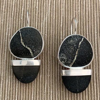 Sliced Both Ways Black with White Stripe :: Double Beach Stone Drop Earrings
