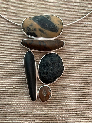 Summit :: 5 Beach Stone Cluster Pendant