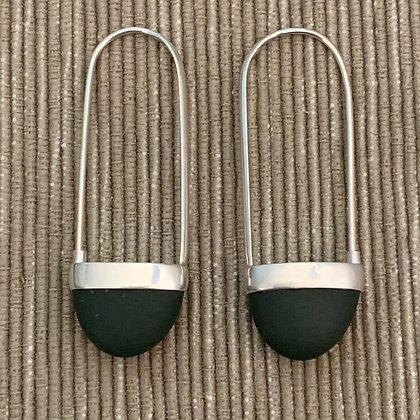 Stone Basket Earrings :: 2.0 L Green Black #6
