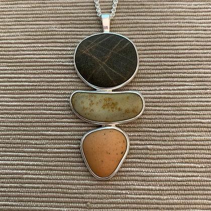 Quiet One :: 3 Beach Stone Cluster Pendant, Medium