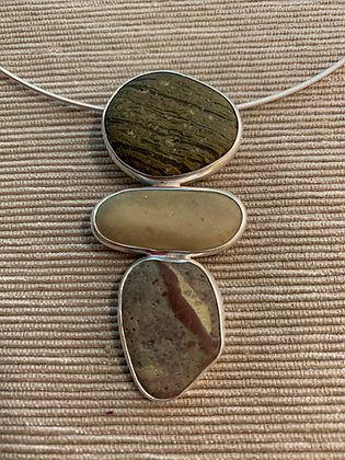 Passing Time :: 3 Beach Stone Cluster Pendant, Medium