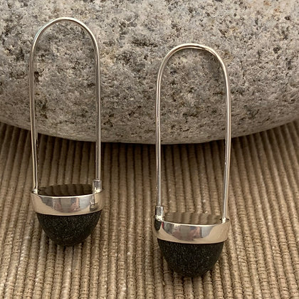 Stone Basket Earrings :: 2.0 M Black and Round #13