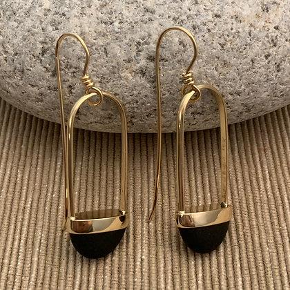 Stone Basket Earrings :: 2.0 SB1 M 14 K Yellow Gold and Black
