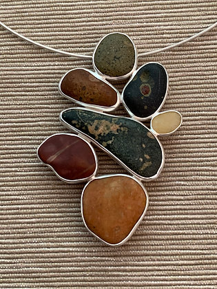 Fall Evening :: 7 Beach Stone Cluster Pendant