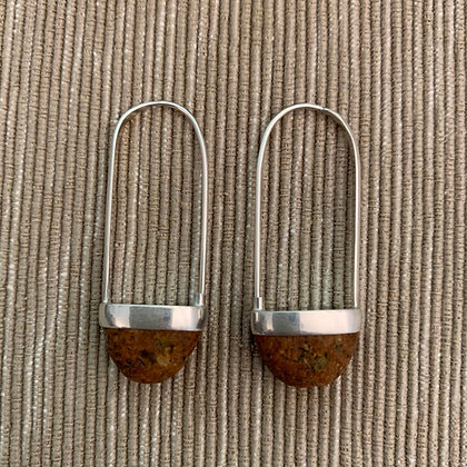 Stone Basket Earrings :: 2.0 M Orange Speckle #10