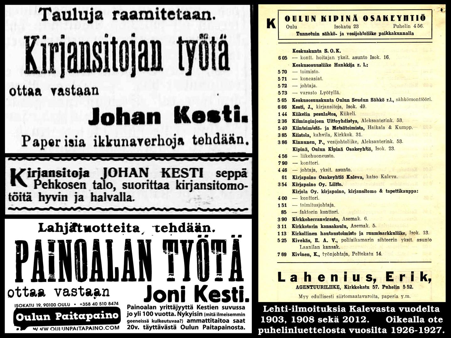 Mainoksia 1900 luvulta
