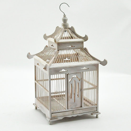 65CM ANTIQUE WHITE SQUARE BIRDCAGE